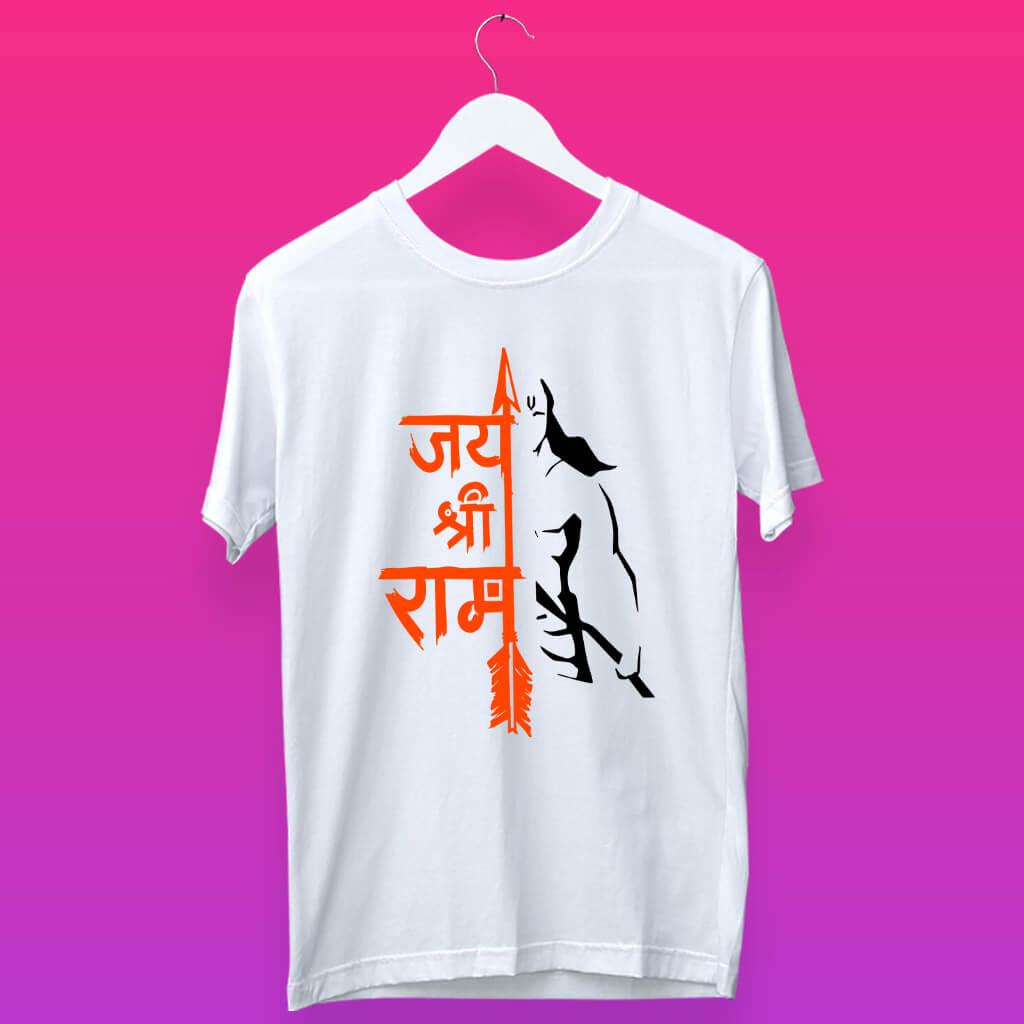 Jay Shree Ram With Hanuman Sketch T Shirt For Men