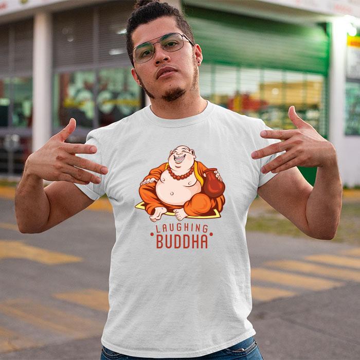 Laughing Buddha best printed neck white t shirt