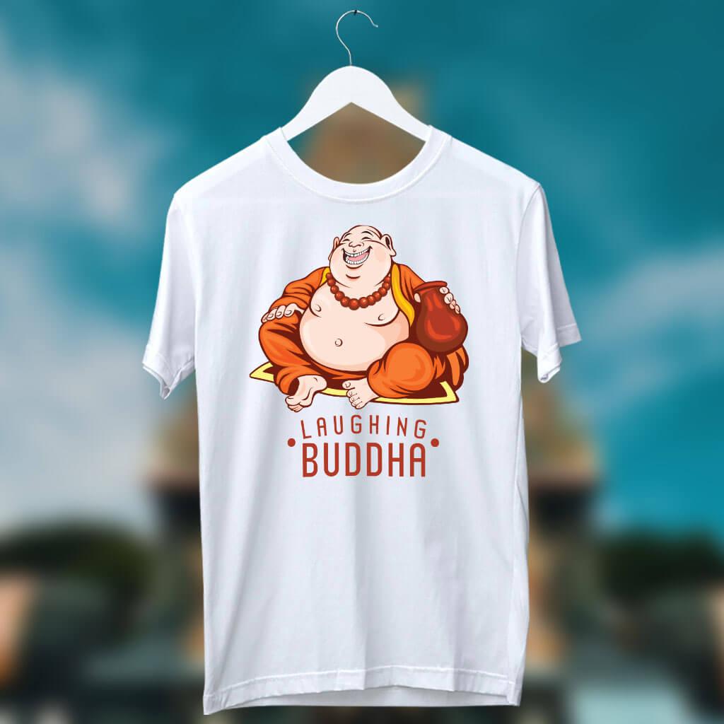 Laughing Buddha Best Printed White T Shirt For Men