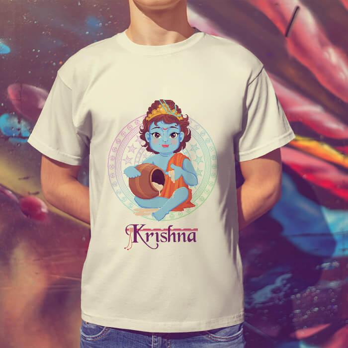 Little Krishna cartoon style image round neck t shirt online