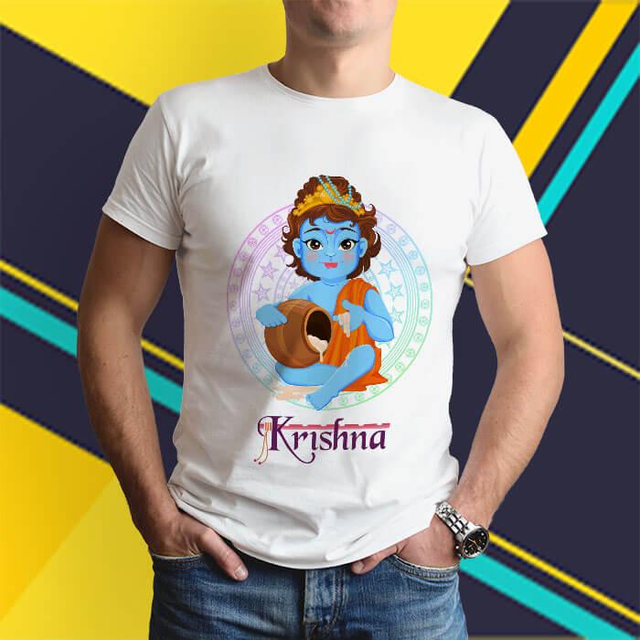 Little Krishna cartoon style image white round neck t shirt