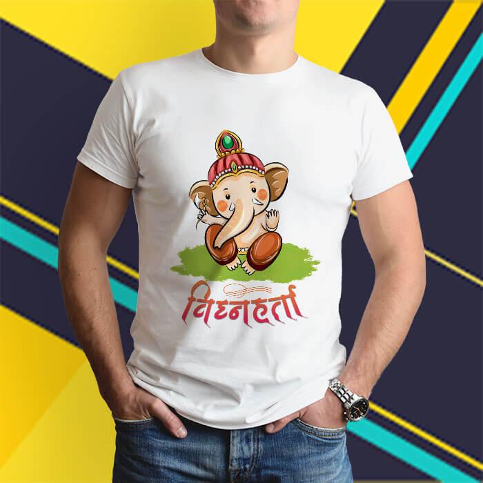Little vighnaharta ganesh printed white round neck t shirt