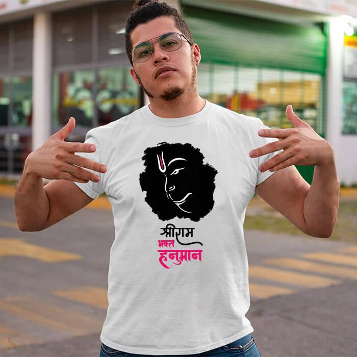 Lord Hanuman black background printed long t shirt for men