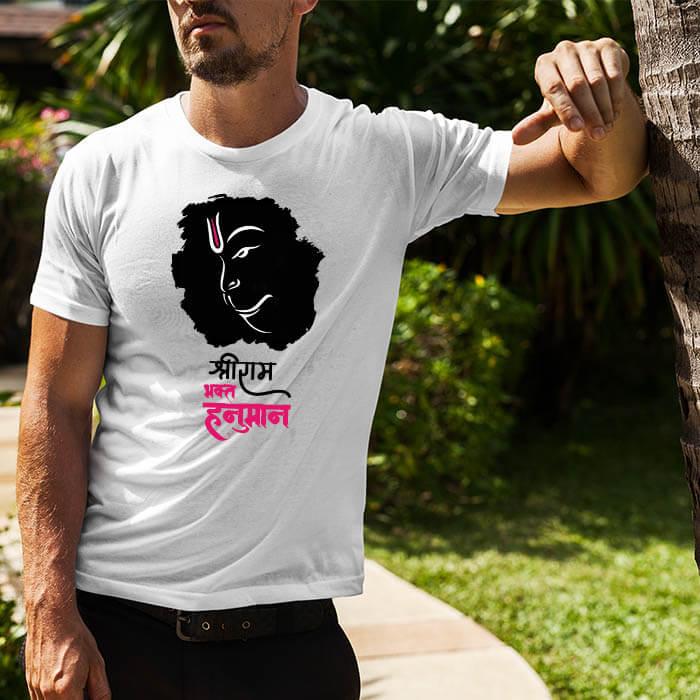 Lord Hanuman black background printed round neck t shirt for men