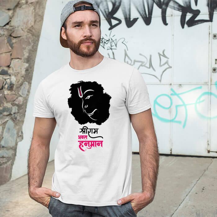 Lord Hanuman black background printed white t-shirt for men