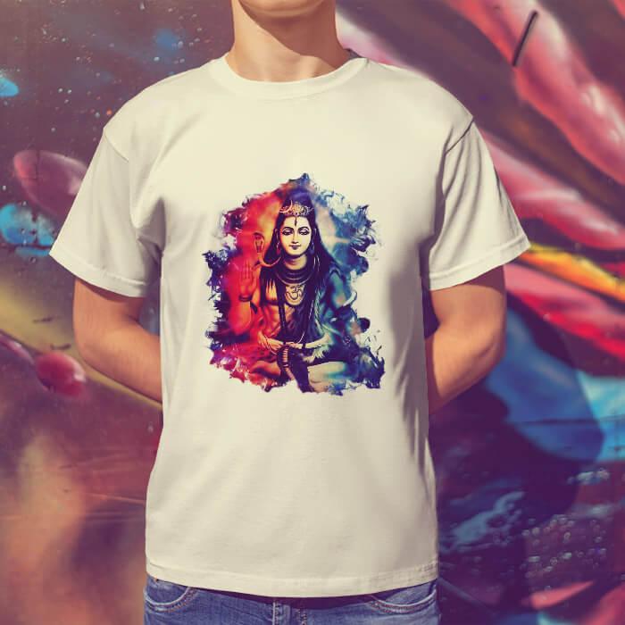 Lord Shiva best art printed round neck white t shirt