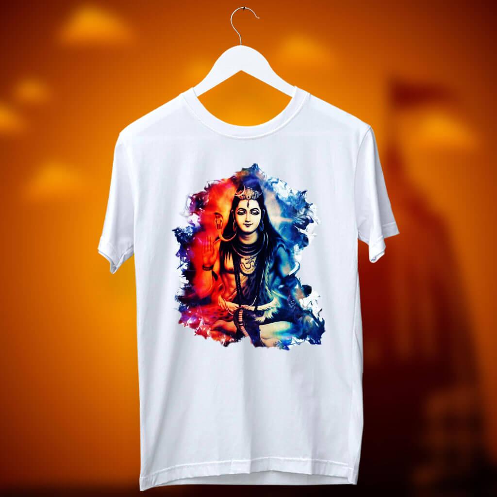 Lord Shiva Best Art Printed White T Shirt For Men