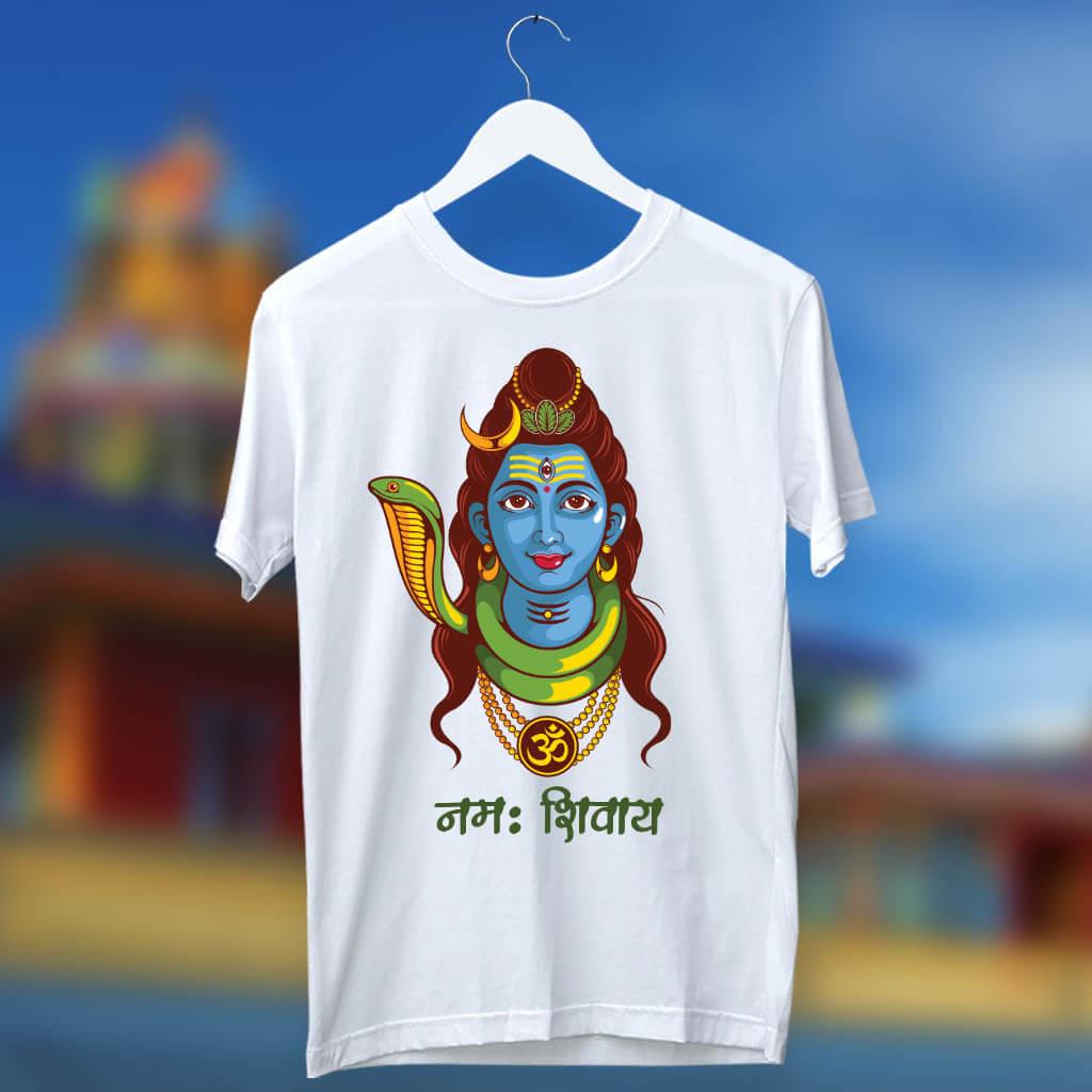 Lord Shiva portrait painting printed white t shirt