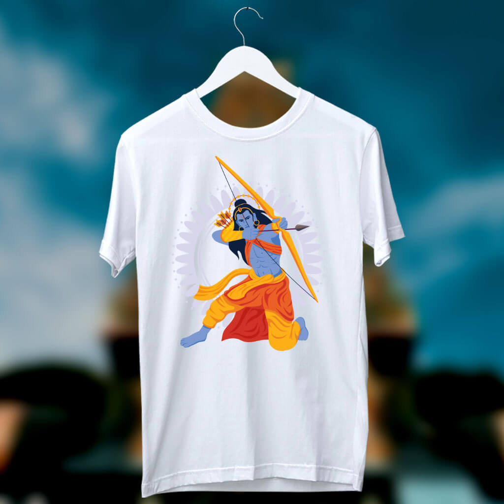 Lord Ram Best Painting Printed White T Shirt