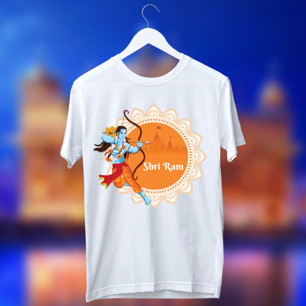 Lord Ram Sketch With Temple Printed T Shirt For Men