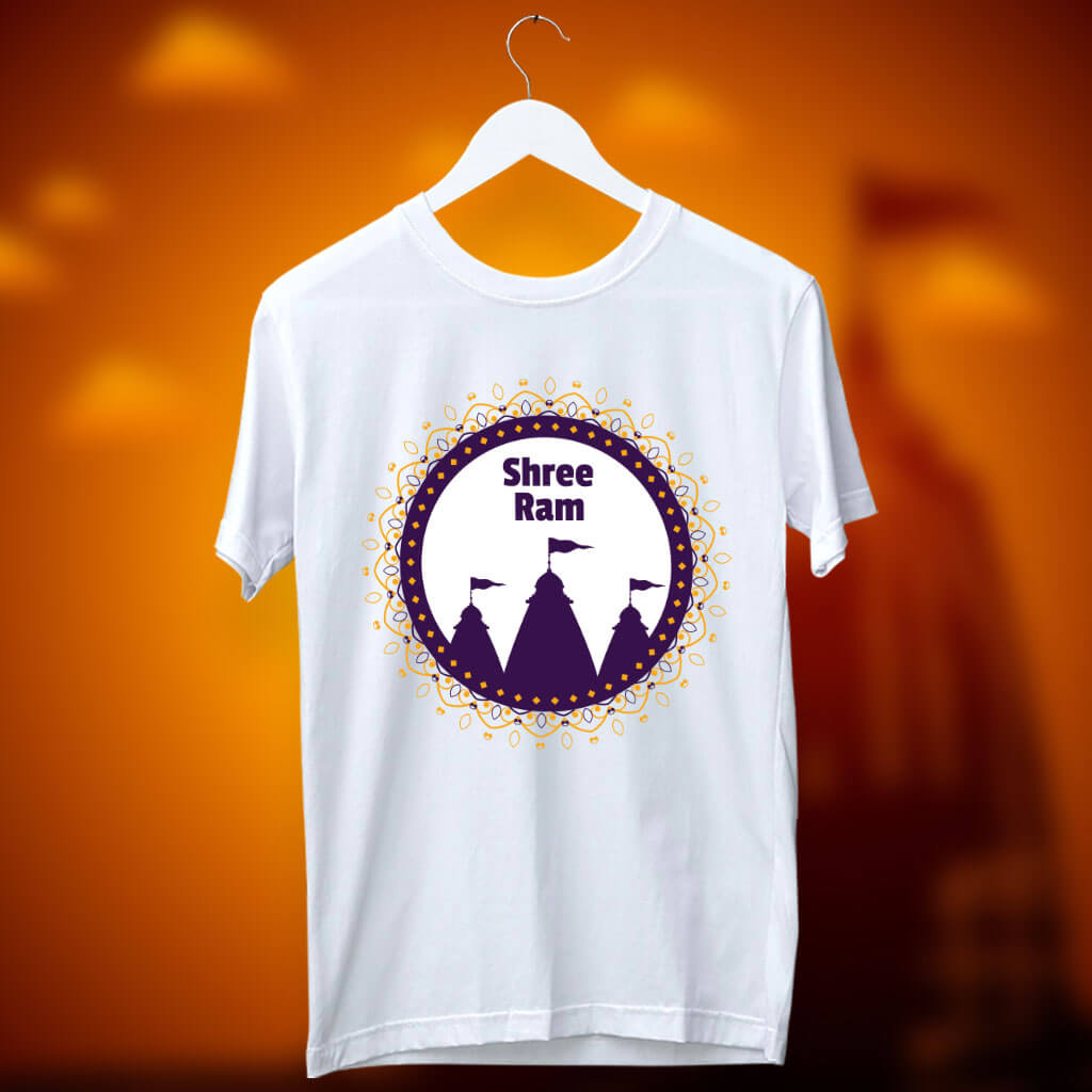 Lord Ram Temple Printed White T Shirt Online