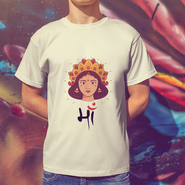 Maa portrait painting images printed round neck t shirt online