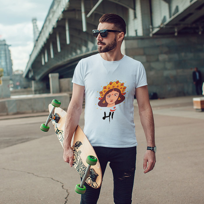 Maa portrait painting images printed round neck t-shirt