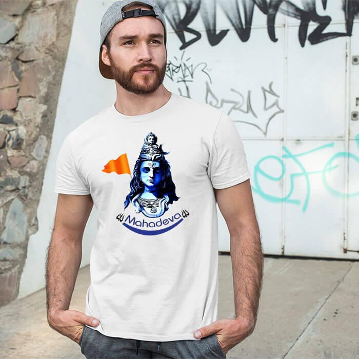 Mahadev best pics printed white t-shirt for men