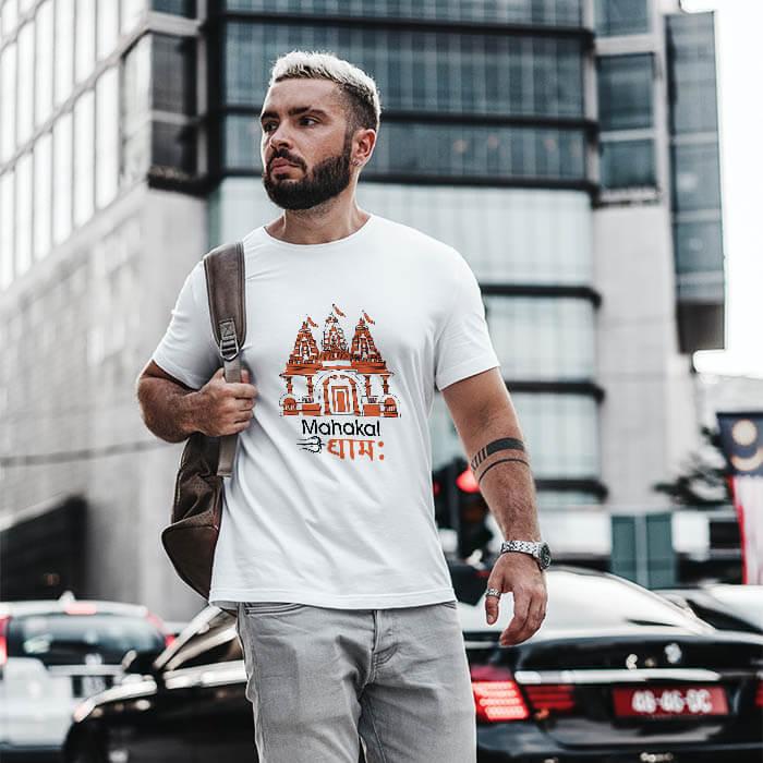 Mahakal Dham printed round neck t shirt for men