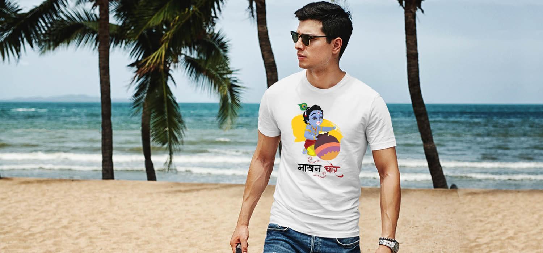 Makhan chor krishna image printed white t shirt for men
