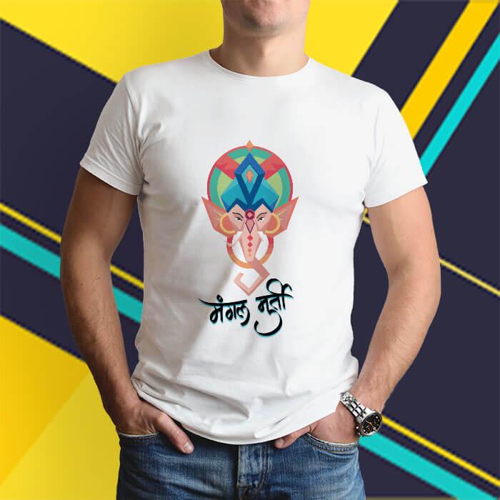 Mangal murti ganesh painting printed white round neck t shirt