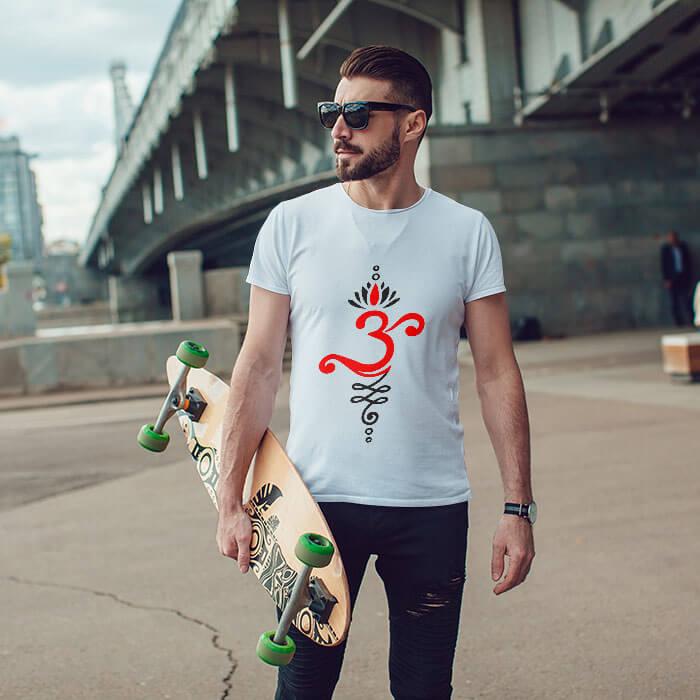 OM art design printed long t shirt for men