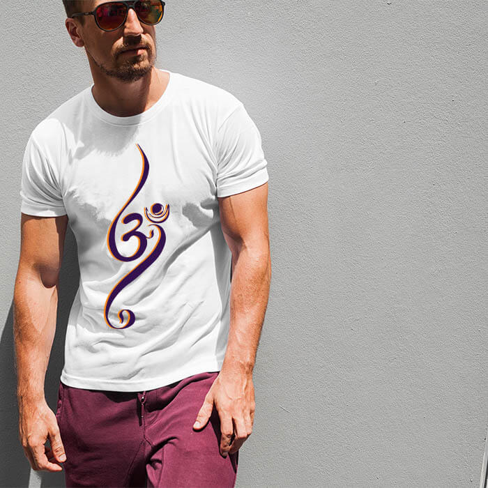 OM beautiful design printed white color t shirt