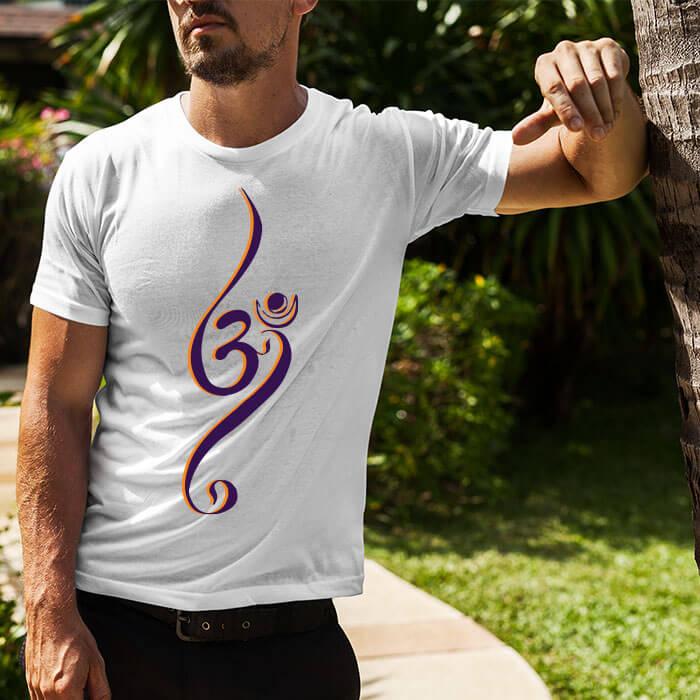 OM beautiful design printed white plain t shirt