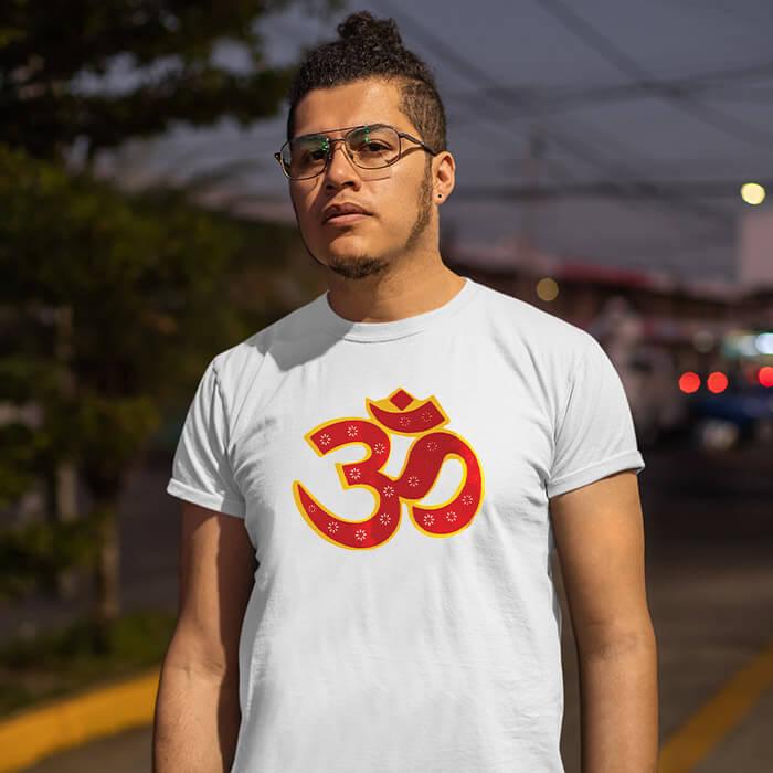 OM best design image printed half sleeve t shirt for men