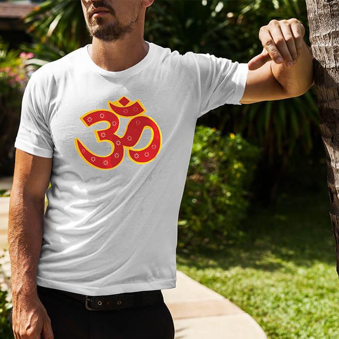 OM best design image printed round neck t shirt for men