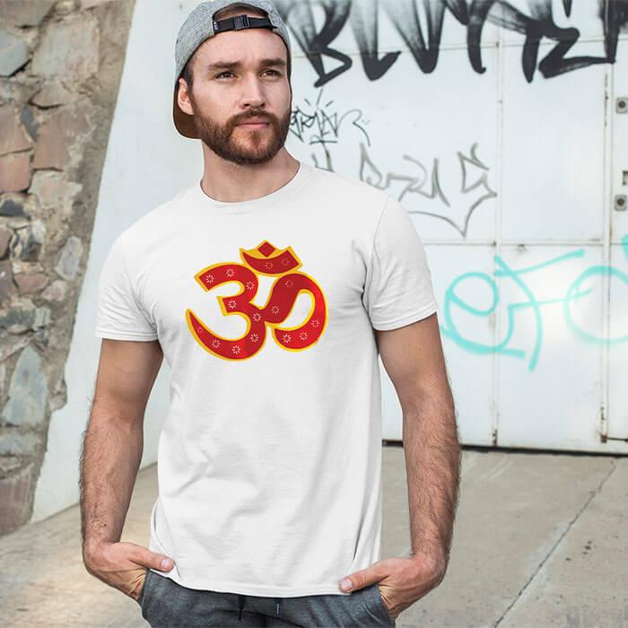 OM best design image printed white t-shirt for men