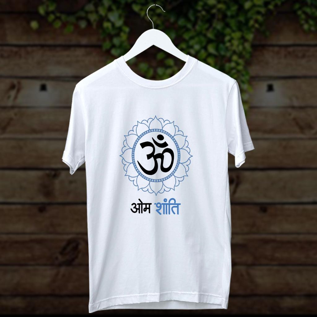 OM shanti design printed t shirt for men
