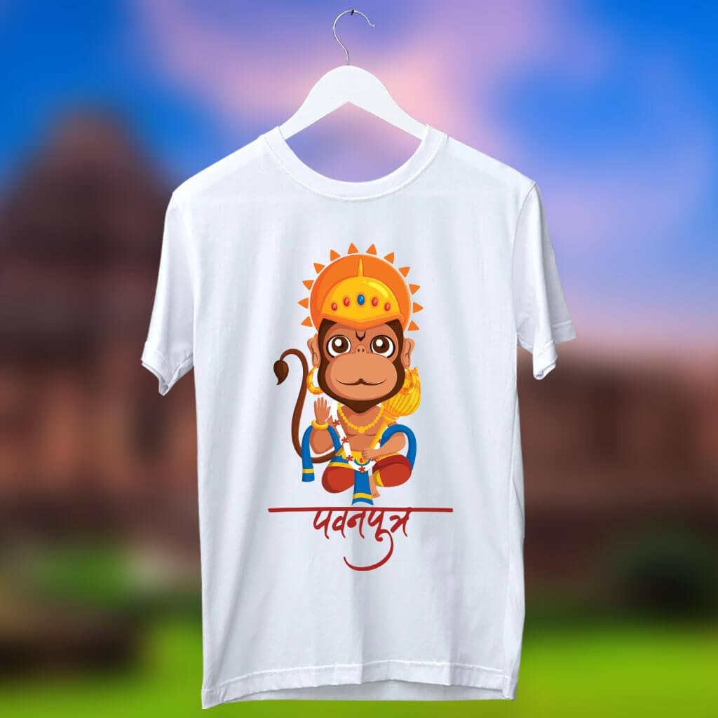 Pavanputra Hanuman cartoon image printed white t shirt