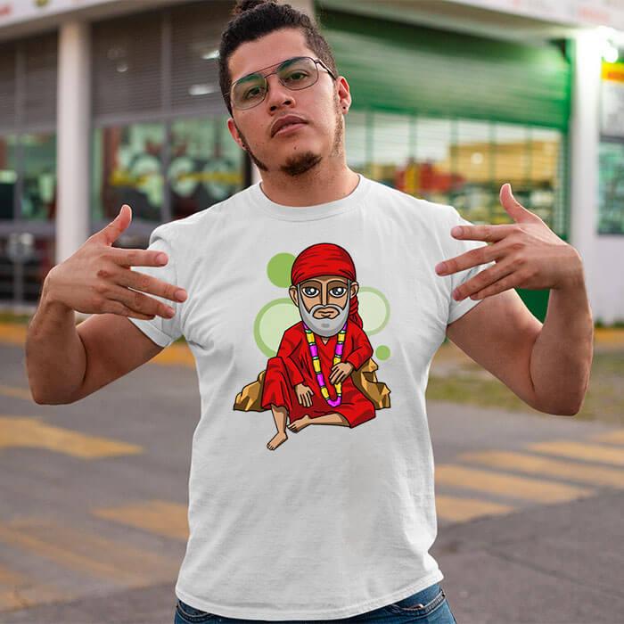 Sai baba painting printed round neck t-shirt