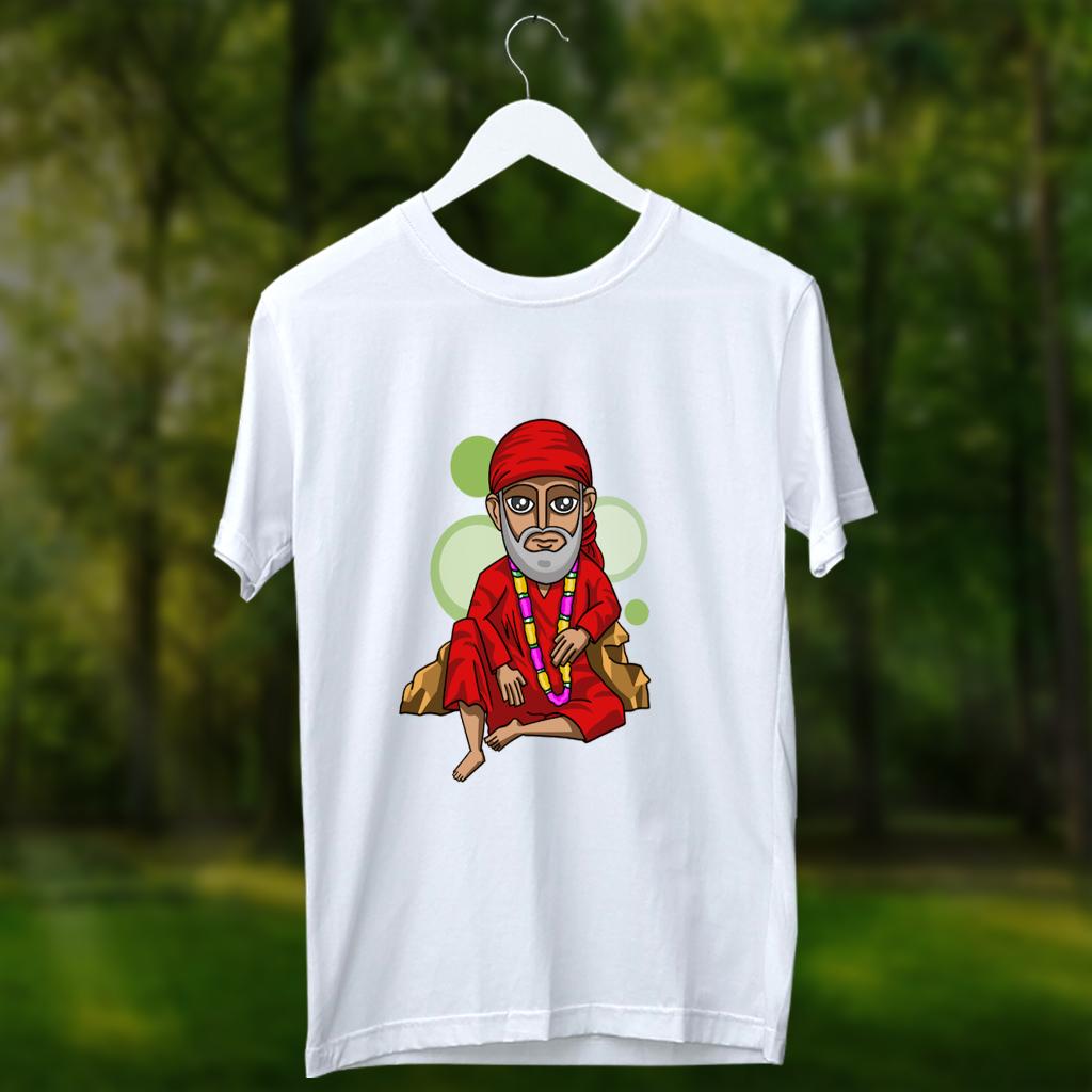 Sai Baba Painting Printed Round Neck White T Shirt