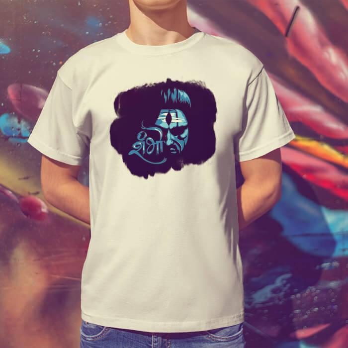 Shiv shambhu black background printed round neck white t shirt