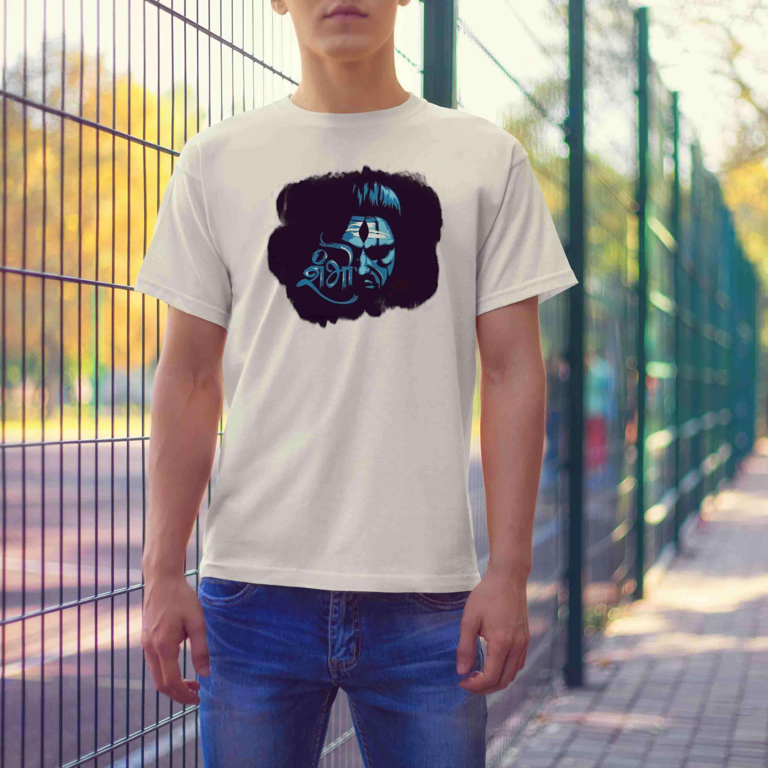 Shiv shambhu black background printed white t-shirt