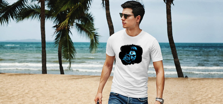 Shiv shambhu black background printed white t shirt for men