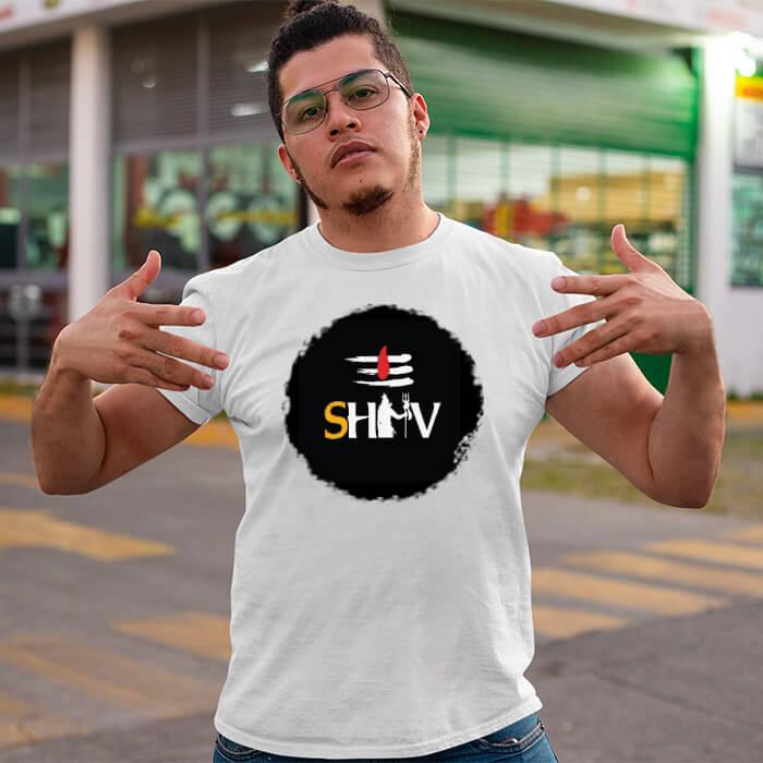Shiva black background printed white plain t shirt