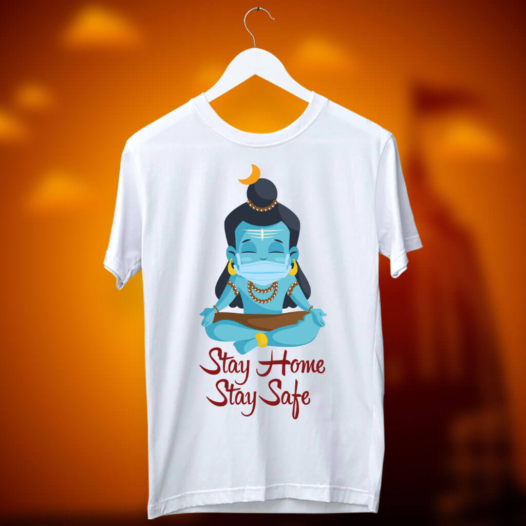 Shiva portrait with Covid-1 motivational white t shirt