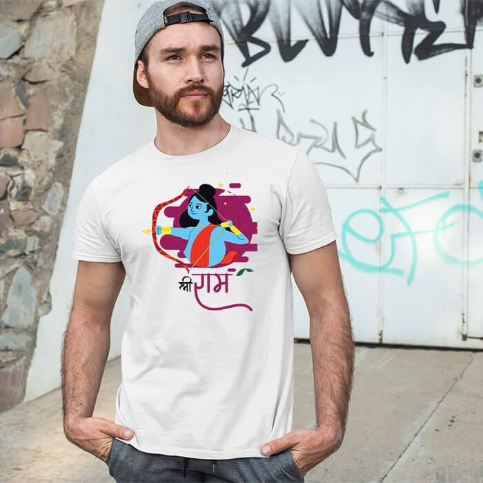 Shree Ram design with cartoon style printed white round neck t shirt