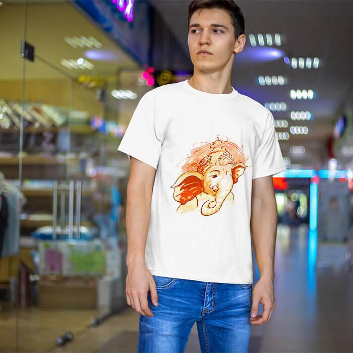 Shree ganesh best image printed round neck t shirt for men