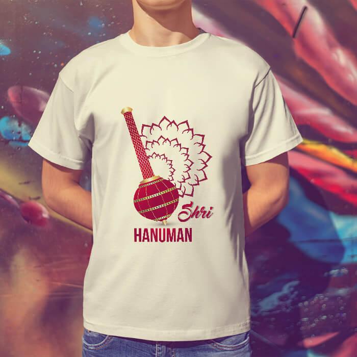 Shree hanuman with gada printed round neck t shirt online