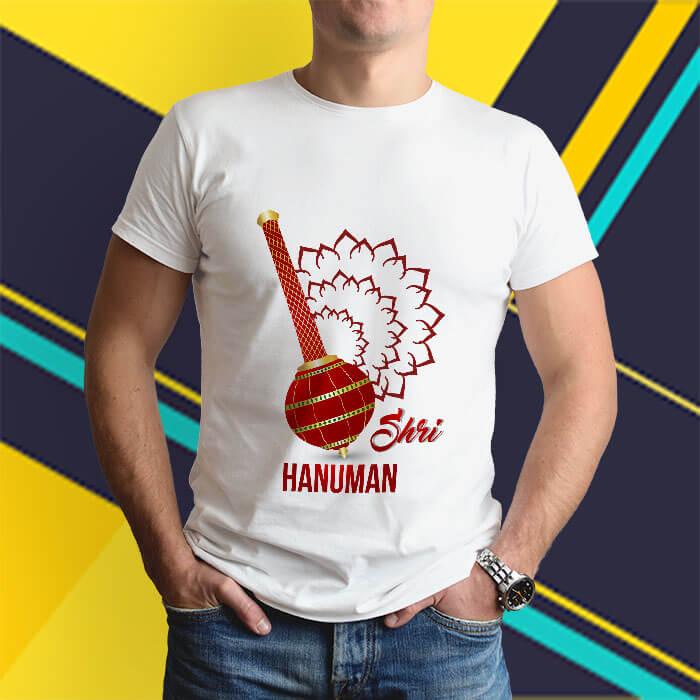 Shree hanuman with gada printed white round neck t shirt