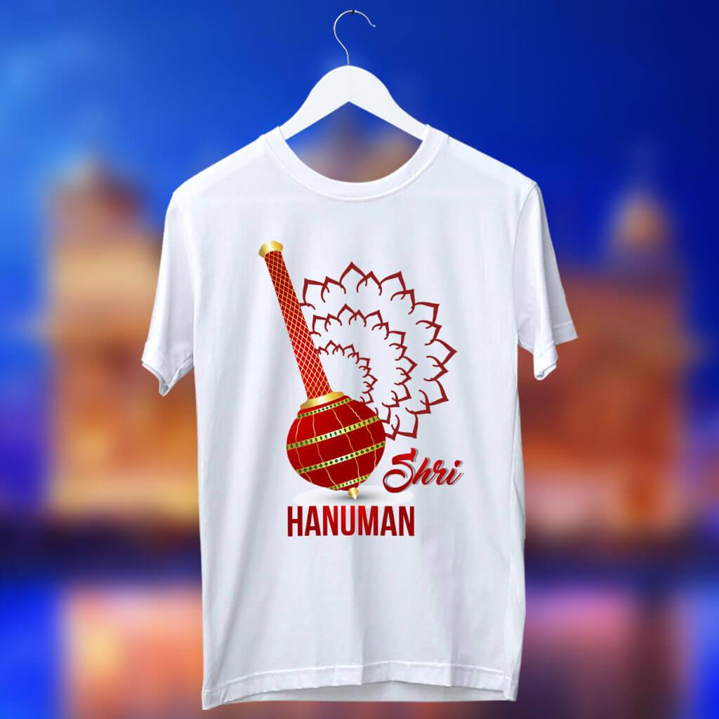 Shree hanuman with gada printed white t shirt online