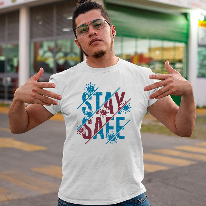 Stay Safe quotes printed round neck t shirt for men