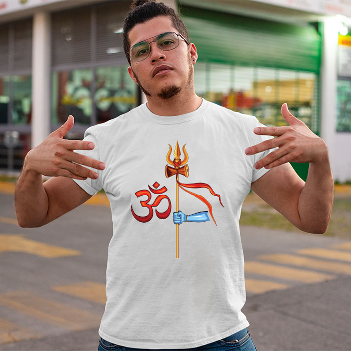 Trishul hold in hand with om printed half sleeve t shirt for men