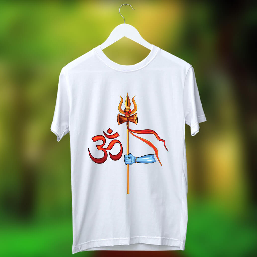 Trishul Hold In Hand With Om Printed T Shirt For Men