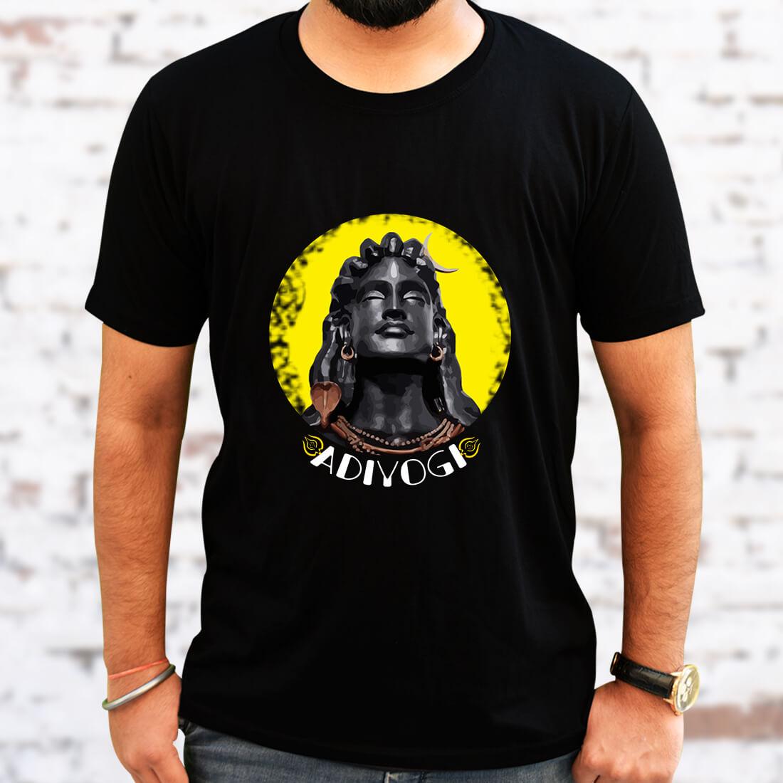 Adiyogi Best Images Printed Black T Shirt