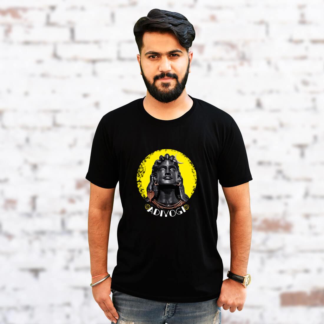 Adiyogi Best Images Printed Plain Black T Shirt