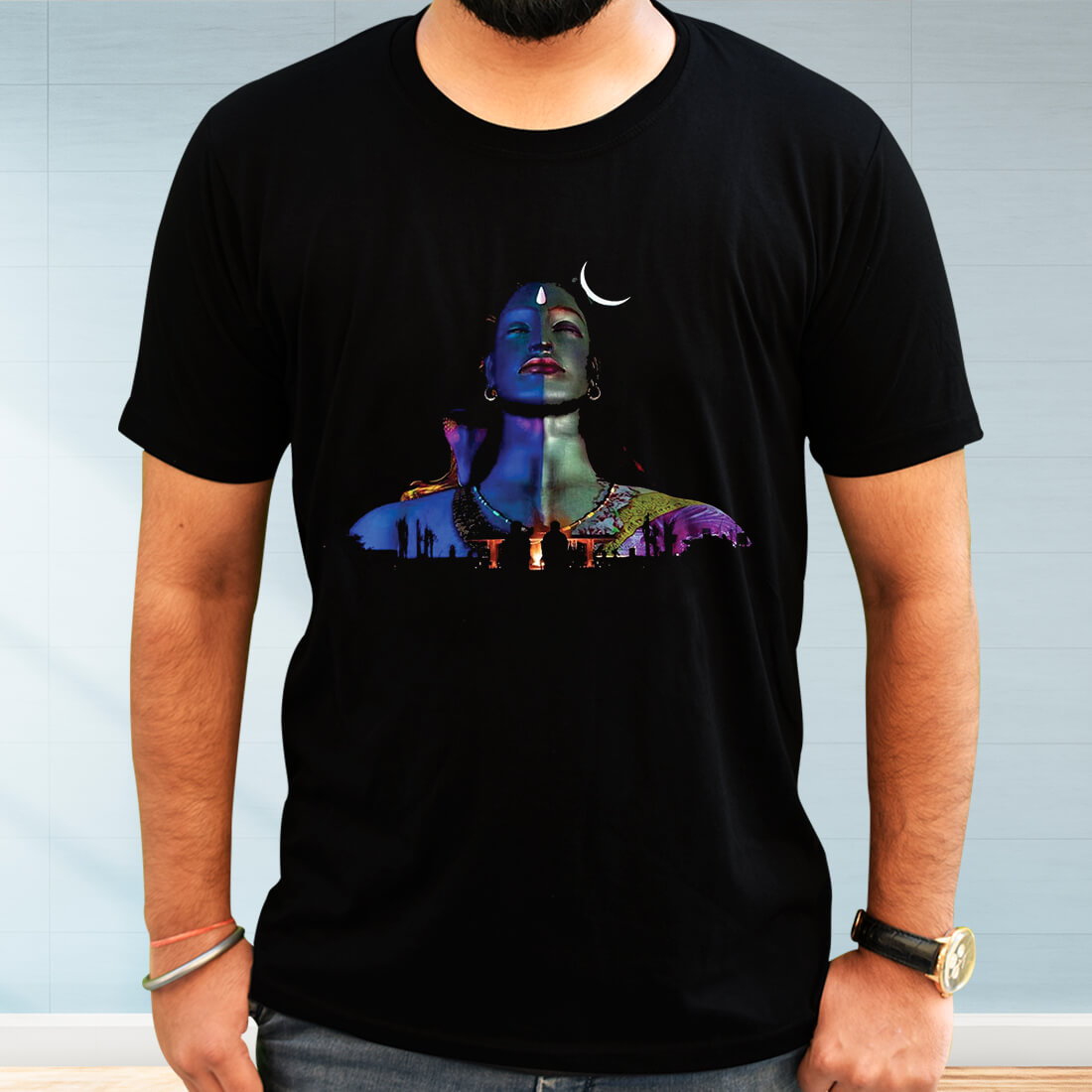 Adiyogi Images Printed Black T-Shirt
