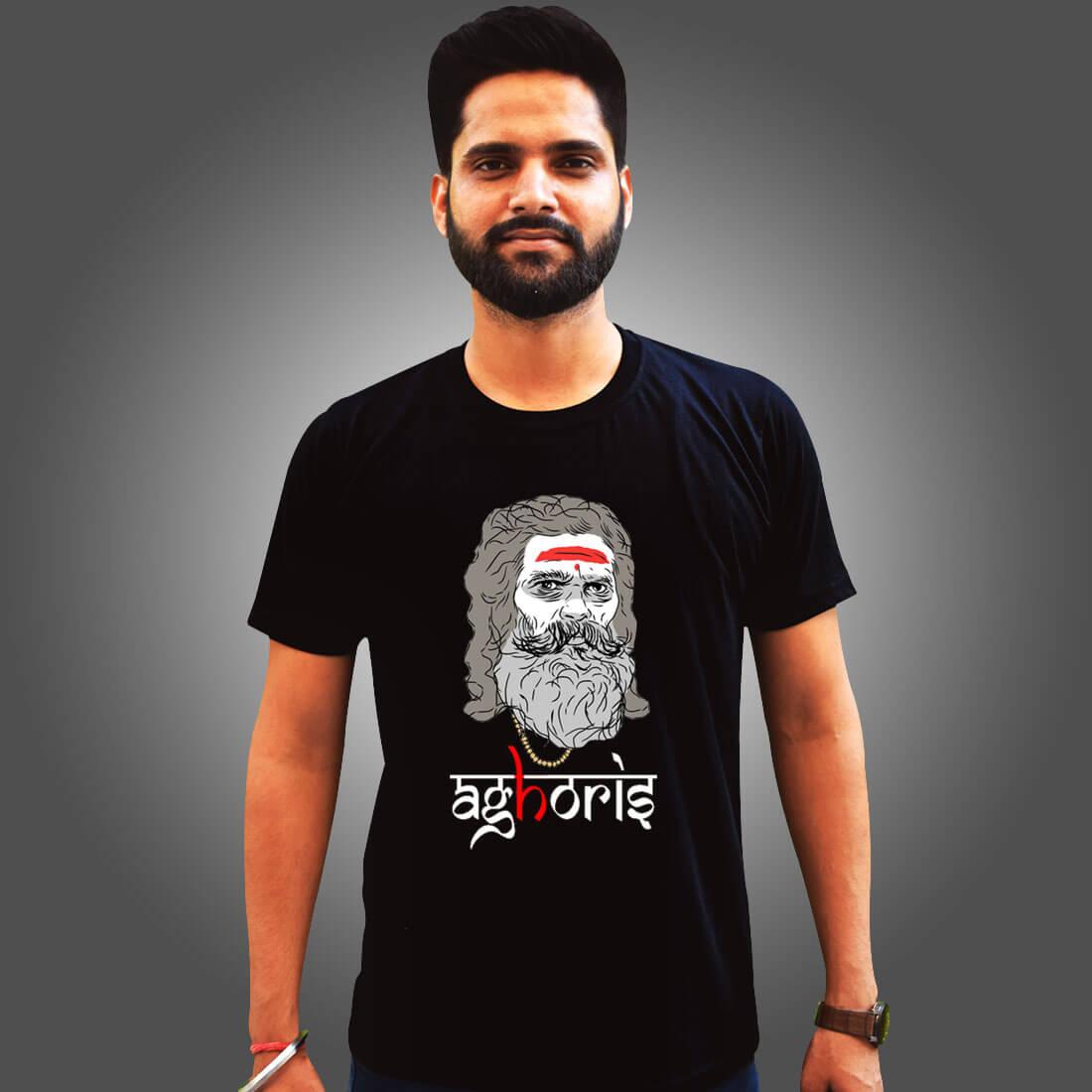 Aghoris Lifestyle Printed Black Plain T Shirt