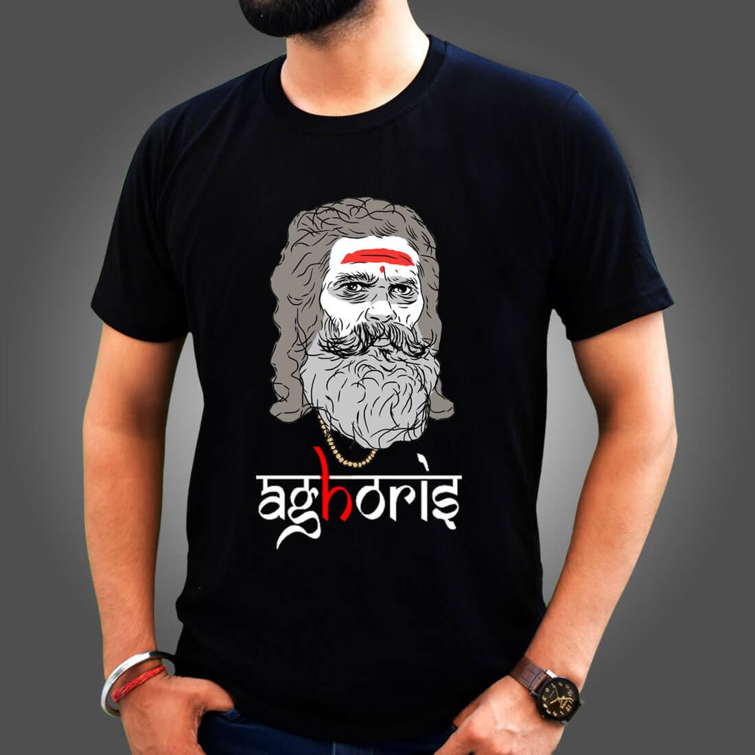 Aghoris Lifestyle Printed Black T-Shirt for Men