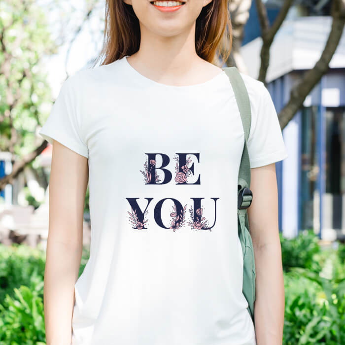Motivational Text Printed T Shirt For Women Online